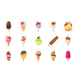 set of ice cream flat icons vector image