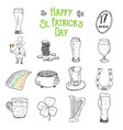 st patricks day hand drawn doodle icons set with vector image
