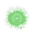 stamp for natural organic product on green blob vector image vector image
