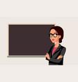 teacher standing in front a blackboard in class vector image