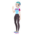teenager girl with blue hair character vector image
