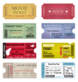 Ticket Template Designs vector image vector image