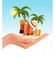Tropical seaside with palms a beach chair and a vector image vector image