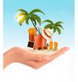 tropical seaside with palms a beach chair