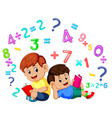 two boy reading book and learning mathematics vector image vector image