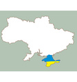 Ukraine map with the Crimea peninsula highlighted vector image