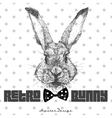 Vintage graphic with rabbit head and slogan in vector image