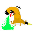 vomiting dogsick dog pet pukes with green vomit vector image vector image