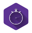 white stopwatch icon isolated with long shadow vector image vector image