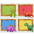 Wooden frame and many dinosaurs vector image vector image