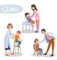 working in clinic pediatrician cartoon vector image