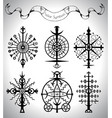 graphic set with solar symbols and banner vector image