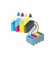 Cartridges for colour inkjet printer icon vector image