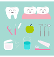Tooth icon set Toothpaste toothbrush dental tools vector image
