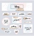 a set of blog design elements kit frames vector image vector image