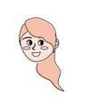 avatar happy woman face with hairstyle design vector image vector image