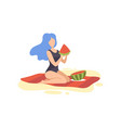 beautiful girl in swimsuit sitting on beach and vector image vector image