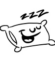 black and white sleepy pillow vector image vector image