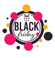 black friday sale rounded banner with present vector image vector image