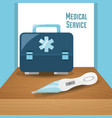 briefcase with thermometer tool to medical service vector image vector image