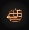 bright sailboat icon in glowing neon style vector image