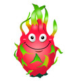 cartoon fun dragon fruit character pitaya vector image vector image