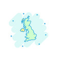cartoon great britain map icon in comic style vector image vector image