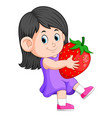 cheerful girl with big strawberries vector image vector image