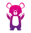 color silhouette cute bear wild animal of the vector image vector image