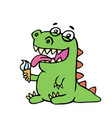 cute dinosaur eating ice cream vector image vector image