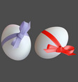 easter eggs with red and violet ribbon vector image