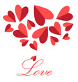 festive greeting card for valentines day with red vector image vector image