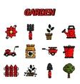 Garden flat icons set vector image vector image