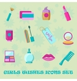 Girls wishes icon set Flat style shopping vector image vector image