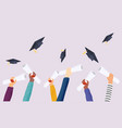 graduating students pupil hands in gown vector image vector image