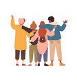 group young people hugging and waving hands vector image vector image