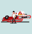 guy with gun and car in fire behind vector image vector image