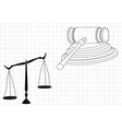 hammer judge scales of justice vector image vector image