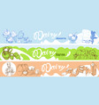 hand drawn dairy horizontal banners vector image