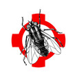 hand drawn fly on crosshair vector image