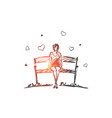hand drawn girl in love sitting on bench vector image vector image