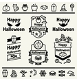 Happy halloween set of badges and icons vector image