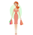 Happy shopping girl vector image vector image