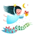 Happy winter holidays smiling angel girl holding vector image vector image