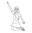 happy young woman black and white vector image vector image