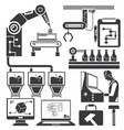 industrial machine and engineering icons vector image vector image