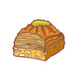 isolated colored baklava in hand drawn style vector image vector image