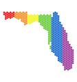 lgbt spectrum pixel florida map vector image vector image