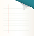 Lined Paper with Bent Corner vector image vector image