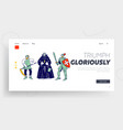 medieval characters website landing page peasant vector image